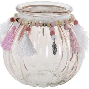 jarron de cristal decoracion en poliester rosa