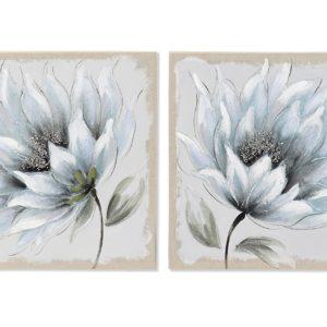 cuadro canvas madera flor azul