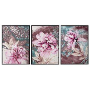 cuadro con marco flores fucsia