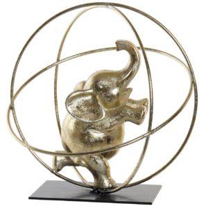 figura resina metal elefante dorado