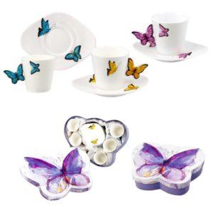 juego de cafe con asas de mariposa