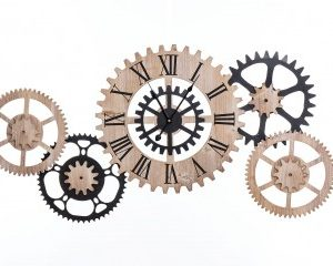reloj-pared-madera-y -metal